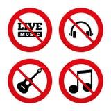 Музыкальный значок элементов Примечание и гитара музыки Стоковое Фото