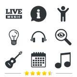 Музыкальный значок элементов Примечание и гитара музыки Стоковое Изображение