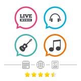 Музыкальный значок элементов Примечание и гитара музыки Стоковая Фотография RF