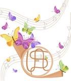 Музыкальный инструмент трубы с предпосылкой бабочек Предпосылка позитва лета иллюстрация штока