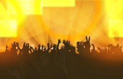 Музыкальный фестиваль с людьми танцев и накаляя светами творческо иллюстрация штока