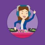 Музыка DJ смешивая на иллюстрации вектора turntables Стоковое Фото