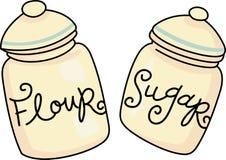 Мука и сахар Стоковое Изображение