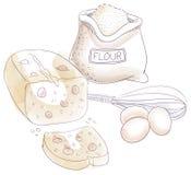 Мука и яичка иллюстрация штока