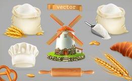 Мука Шляпа мельницы, пшеницы, хлеба и шеф-повара иконы иконы цвета картона установили вектор бирок 3 иллюстрация вектора
