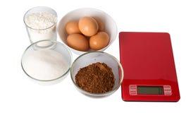 Мука, яичка, сахар, какао Стоковая Фотография RF