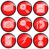 мультимедиа икон красные Стоковое Изображение RF