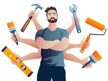 Мульти-вооруженный ремонтник построителя Иллюстрация вектора технического обслуживания иллюстрация штока