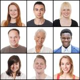 Мульти-этнические женщины и люди выстраивая в ряд от 18 до 65 лет Стоковые Изображения RF