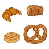 Мультфильм вектора установил свежих испеченных деталей печенья Десерты и закуски бесплатная иллюстрация
