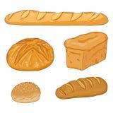 Мультфильм вектора установил свежих испеченных хлебцев и багетов хлеба бесплатная иллюстрация
