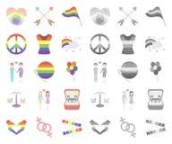 Мультфильм гея и лесбиянка, mono значки в установленном собрании для дизайна Сексуальные меньшинство и атрибуты vector сеть запас иллюстрация вектора