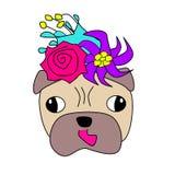 Мультфильм головы мопса с цветками иллюстрация вектора