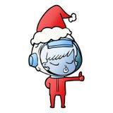 мультфильм градиента милой девушки астронавта давая большие пальцы руки вверх по носить шляпу santa иллюстрация штока