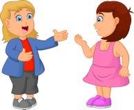 Мультфильм детей говоря друг к другу иллюстрация вектора