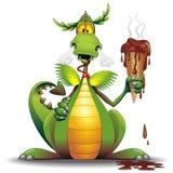 Мультфильм дракона с расплавленной иллюстрацией вектора характера мороженого смешной стоковое фото