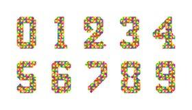 Мультфильм изолировал набор номеров плиток Набор вектора 1-9 значков младенца числа Красочный числительный алфавит яркие числа 3d бесплатная иллюстрация