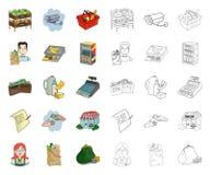 Мультфильм супермаркета и оборудования, значки плана в установленном собрании для дизайна Приобретение запаса символа вектора про иллюстрация вектора