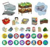 Мультфильм супермаркета и оборудования, плоские значки в установленном собрании для дизайна Приобретение сети запаса символа вект иллюстрация штока