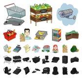 Мультфильм супермаркета и оборудования, черные значки в установленном собрании для дизайна Приобретение запаса символа вектора пр иллюстрация штока