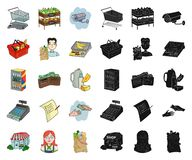 Мультфильм супермаркета и оборудования, черные значки в установленном собрании для дизайна Приобретение сети запаса символа векто иллюстрация штока