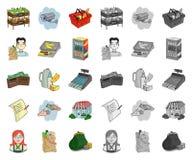 Мультфильм супермаркета и оборудования, mono значки в установленном собрании для дизайна Приобретение сети запаса символа вектора иллюстрация вектора