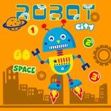 Мультфильм умного города робота смешной, иллюстрация вектора стоковое изображение