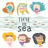 Мультфильм установил с маленькими русалками Под морем иллюстрация вектора