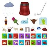 Мультфильм Шотландии страны, плоские значки в установленном собрании для дизайна Sightseeing, культура и традиция vector запас си иллюстрация штока
