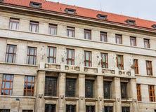Муниципальная библиотека в Праге взгляд городка республики cesky чехословакского krumlov средневековый старый стоковые изображения