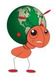 Муравей держит глобус - за исключением планеты Стоковое фото RF