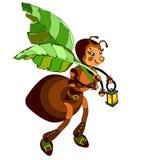 муравей держа лист на белой предпосылке Стоковое Изображение RF