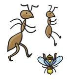 Муравьи и пчела также вектор иллюстрации притяжки corel Стоковые Фото