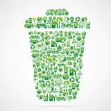 Мусорная корзина конструкция с иконой природы eco Стоковое Фото