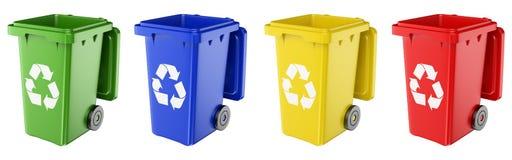 мусорные корзины 3D различных цветов бесплатная иллюстрация