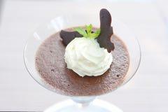 Мусс шоколада в бокале Стоковая Фотография