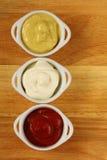 Мустард, ketchup и майонез Стоковое Изображение