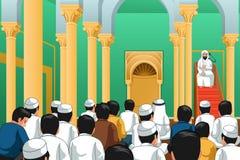 Мусульмане моля в иллюстрации мечети стоковое изображение rf