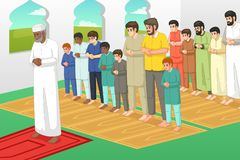 Мусульмане моля в иллюстрации мечети стоковое фото