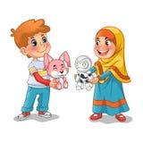 Мусульманская девушка и мальчик обменивая подарки и делая друзей иллюстрация штока