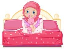 Мусульманская девушка на кровати бесплатная иллюстрация
