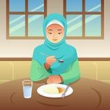 Мусульманская женщина есть иллюстрацию завтрака дома иллюстрация штока