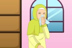 Мусульманская женщина чихая в иллюстрацию ткани стоковые изображения rf