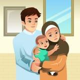 Мусульманская иллюстрация семьи дома иллюстрация вектора