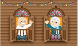 Мусульманский старик и женщина стоя на Malay вводят окно в моду, празднуя фестиваль Raya бесплатная иллюстрация