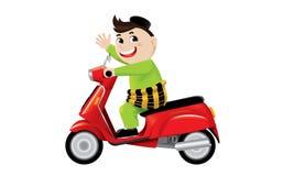 Мусульманское катание мальчика на милом мотоцилк стоковые изображения