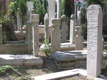 Мусульманское кладбище к Стамбулу в Турции стоковое фото rf