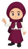 Мусульманская девушка в фиолетовом костюме иллюстрация вектора
