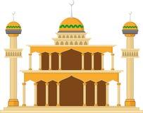 Мусульманская мечеть изолировала плоский фасад на белой предпосылке Квартира с объектом архитектуры теней Стоковая Фотография RF