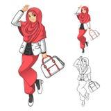 Мусульманская мода девушки нося зеленые вуаль или шарф с желтой курткой и ботинками иллюстрация вектора